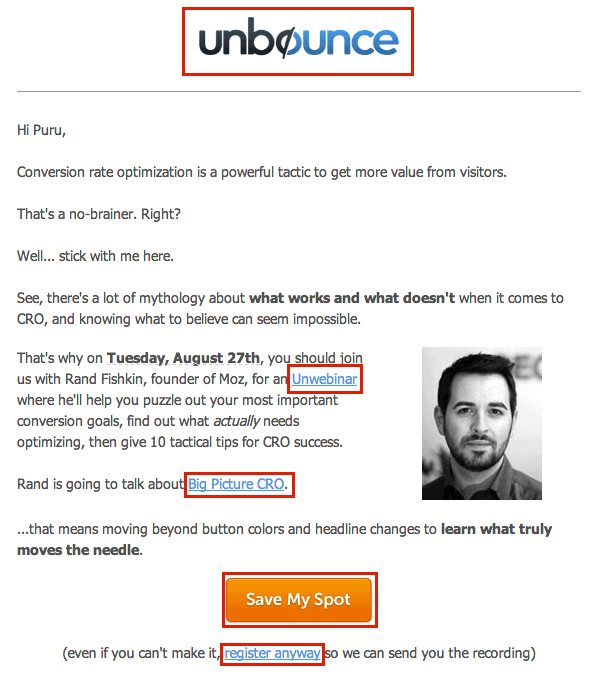 Links in Unbounce emails