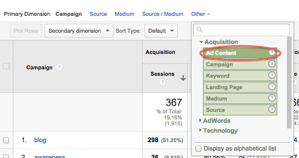 See UTM Content in Google Analytics