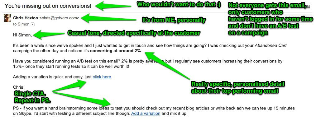Email Example: The PS Note as a CTA